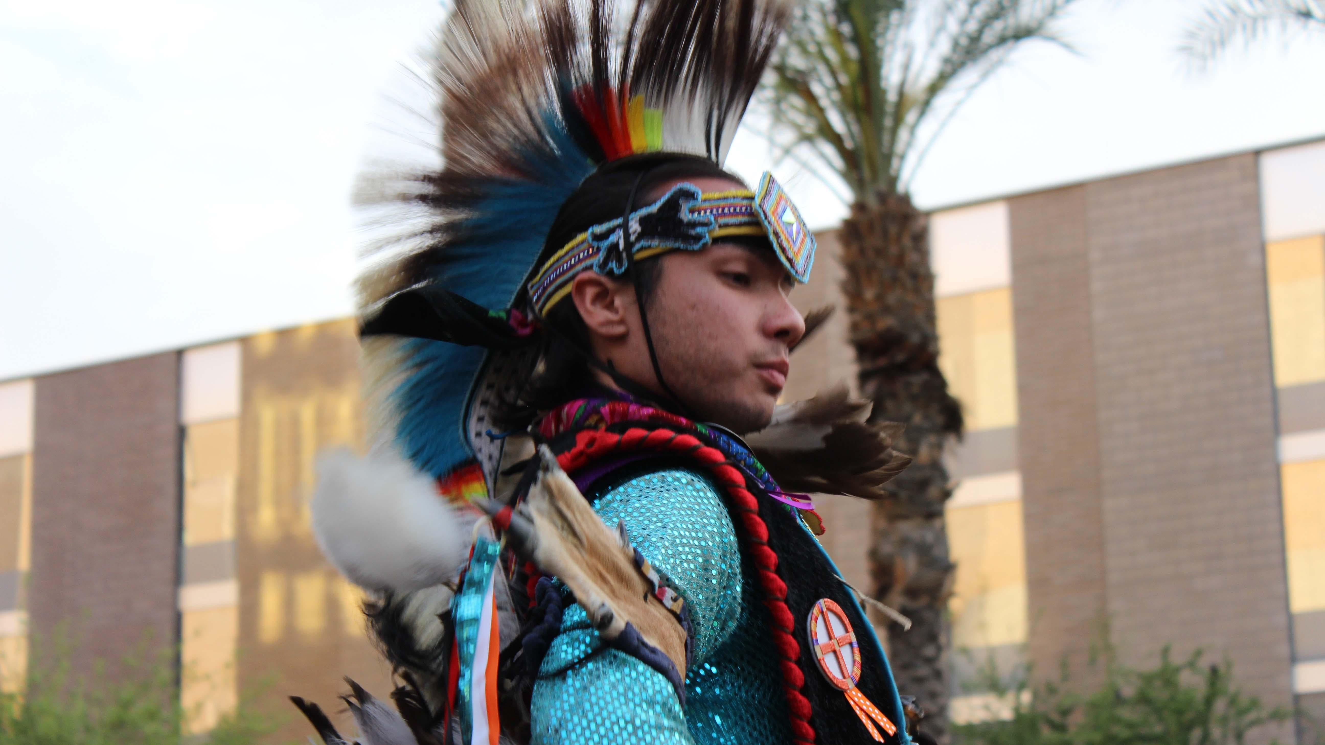 ASU student does a traditional Native American dance